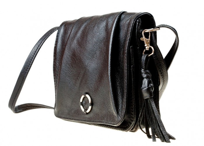 small lady's leather black bag