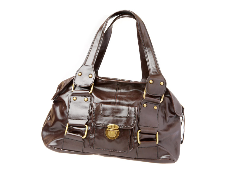 small lady's leather brown bag