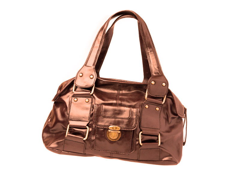 small lady's leather bronze bag
