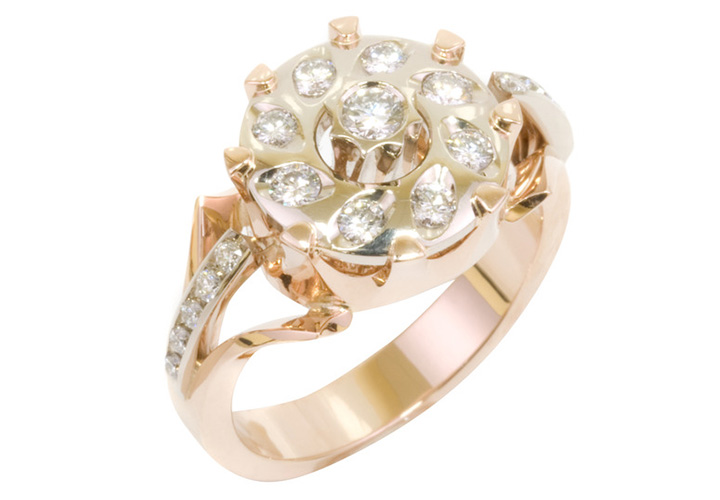 Ring of gold and white gold on white